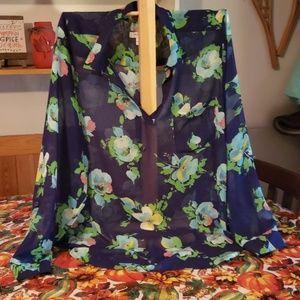 Liz Claiborne plus sz. 2X sheer, floral popover